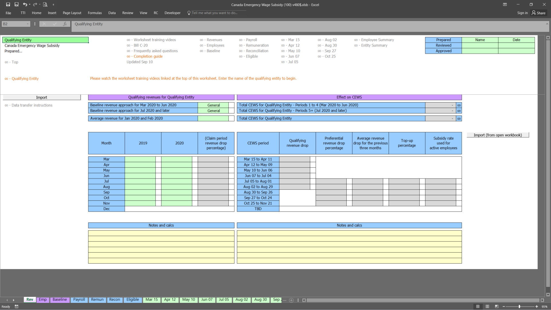 Screenshot Canada Emergency Wage Subsidy (CEWS) + Canada Recovery Hiring Program (CRHP)